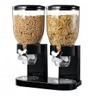 Диспенсер дозатор двойной для орехов, хлопьев и сухих завтраков. Черный