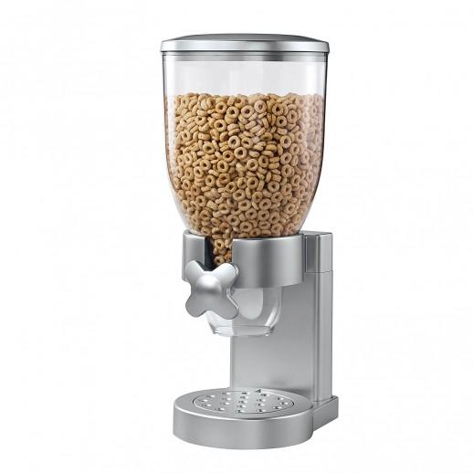 Диспенсер дозатор одинарный для орехов, хлопьев и сухих завтраков. Серебряный